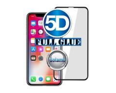 Apsauga ekranui gaubtas grūdintas stiklas Apple iPhone XR mobiliesiems telefonams juodos spalvos 5D pilnas padengimas klijais