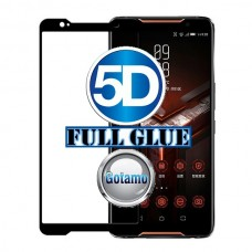 Apsauga ekranui gaubtas grūdintas stiklas Asus ROG Phone mobiliesiems telefonams juodos spalvos 5D pilnas padengimas klijais
