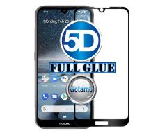 Apsauga ekranui gaubtas grūdintas stiklas Nokia 2.2 mobiliesiems telefonams juodos spalvos 5D pilnas padengimas klijais