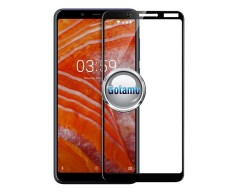 Apsauga ekranui gaubtas grūdintas stiklas Nokia 3.1 Plus mobiliesiems telefonams juodos spalvos