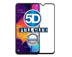 Apsauga ekranui gaubtas grūdintas stiklas Samsung Galaxy A50 mobiliesiems telefonams juodos spalvos 5D pilnas padengimas klijais