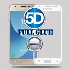 Apsauga ekranui gaubtas grūdintas stiklas Samsung Galaxy J3 (2017) mobiliesiems telefonams baltos spalvos pilnas padengimas klijais