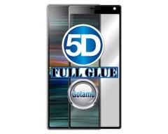 Apsauga ekranui gaubtas grūdintas stiklas Sony Xperia 10 Plus Sony Xperia XA3 Ultra mobiliesiems telefonams juodos spalvos 5D pilnas padengimas klijais
