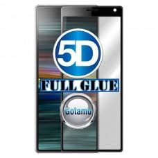 Apsauga ekranui gaubtas grūdintas stiklas Sony Xperia 10 5D pilnas padengimas klijais Sony Xperia XA3 mobiliesiems telefonams juodos spalvos