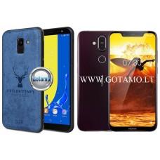 Deer dėklas nugarėlė Nokia 8.1 mobiliesiems telefonams mėlynos spalvos