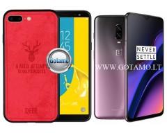 Deer dėklas nugarėlė OnePlus 6T mobiliesiems telefonams raudonos spalvos