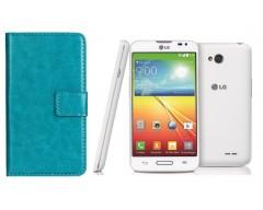 Diary Mate dėklas LG L70 telefonams žydros spalvos