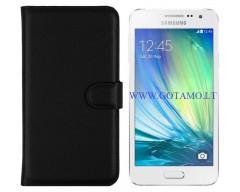 Diary Mate dėklas Samsung Galaxy A3 mobiliesiems telefonams juodos spalvos