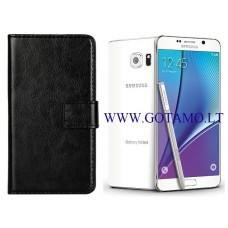 Diary Mate dėklas Samsung Galaxy Note 5 mobiliesiems telefonams juodos spalvos