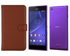Diary Mate dėklas Sony Xperia T3 mobiliesiems telefonams rudos spalvos