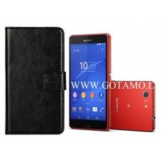 Diary Mate dėklas Sony Xperia Z3 Compact mobiliesiems telefonams juodos spalvos