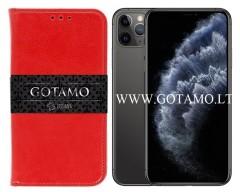 Gotamo D-gravity natūralios odos dėklas Apple iPhone 11 Pro Max mobiliesiems telefonams raudonos spalvos