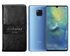 Gotamo D-gravity natūralios odos dėklas Huawei Mate 20 mobiliesiems telefonams juodos spalvos
