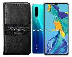 Gotamo D-gravity natūralios odos dėklas Huawei P30 mobiliesiems telefonams juodos spalvos