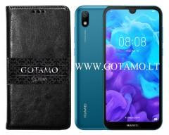 Gotamo D-gravity natūralios odos dėklas Huawei Y5 (2019) Huawei Honor 8S mobiliesiems telefonams juodos spalvos