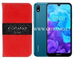 Gotamo D-gravity natūralios odos dėklas Huawei Y5 (2019) Huawei Honor 8S mobiliesiems telefonams raudonos spalvos