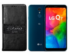 Gotamo D-gravity natūralios odos dėklas LG Q7 mobiliesiems telefonams juodos spalvos