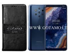 Gotamo D-gravity natūralios odos dėklas Nokia 9 PureView mobiliesiems telefonams juodos spalvos