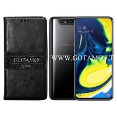 Gotamo D-gravity natūralios odos dėklas Samsung Galaxy A80 mobiliesiems telefonams juodos spalvos