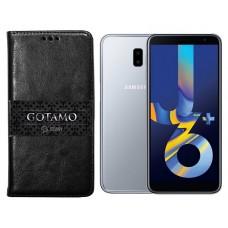 Gotamo D-gravity natūralios odos dėklas Samsung Galaxy J6+ (2018) mobiliesiems telefonams juodos spalvos