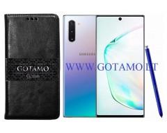 Gotamo D-gravity natūralios odos dėklas Samsung Galaxy Note 10+ mobiliesiems telefonams juodos spalvos
