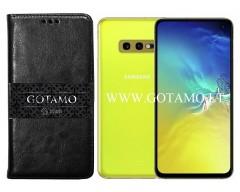 Gotamo D-gravity natūralios odos dėklas Samsung Galaxy S10e mobiliesiems telefonams juodos spalvos