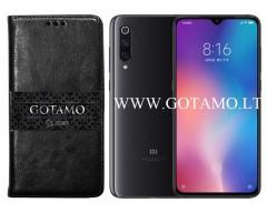 Gotamo D-gravity natūralios odos dėklas Xiaomi Mi 9 mobiliesiems telefonams juodos spalvos
