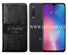 Gotamo D-gravity natūralios odos dėklas Xiaomi Mi 9 SE mobiliesiems telefonams juodos spalvos