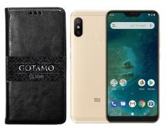 Gotamo D-gravity natūralios odos dėklas Xiaomi Mi A2 Lite, Xiaomi Redmi 6 Pro mobiliesiems telefonams juodos spalvos