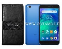 Gotamo D-gravity natūralios odos dėklas Xiaomi Redmi Go mobiliesiems telefonams juodos spalvos