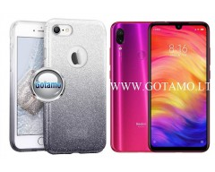 iLLuminaTe silikoninis dėklas nugarėlė Xiaomi Redmi Note 7, Xiaomi Redmi Note 7 Pro telefonams sidabro spalvos