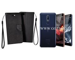 Manager dėklas Nokia 5.1 mobiliesiems telefonams juodos spalvos
