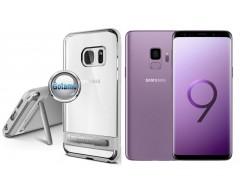 Mercury Dream silikoninis dėklas su atrama Samsung Galaxy S9 telefonams sidabro spalvos