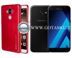 Mercury i-Jelly dėklas nugarėlė Samsung Galaxy A3 (2017) telefonui metalic raudonos spalvos