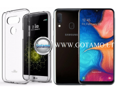 Mercury Jelly dėklas nugarėlė Samsung Galaxy A20e telefonui skaidrus