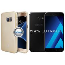 Mercury Jelly dėklas nugarėlė Samsung Galaxy A3 (2017) telefonui aukso spalvos