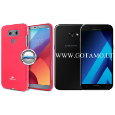 Mercury Jelly dėklas nugarėlė Samsung Galaxy A3 (2017) telefonui tamsiai rožinės spalvos