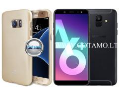 Mercury Jelly dėklas nugarėlė Samsung Galaxy A6+ (2018) telefonui aukso spalvos