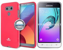 Mercury Jelly dėklas nugarėlė Samsung Galaxy J1 (2016) telefonui tamsiai rožinės spalvos