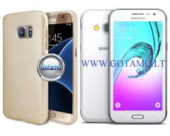 Mercury Jelly dėklas nugarėlė Samsung Galaxy J3 (2016) telefonui aukso spalvos
