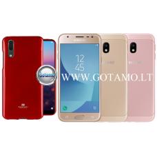 Mercury Jelly dėklas nugarėlė Samsung Galaxy J3 (2017) telefonui raudonos spalvos