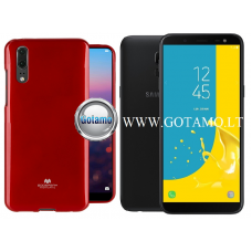 Mercury Jelly dėklas nugarėlė Samsung Galaxy J6 (2018) telefonui raudonos spalvos