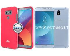 Mercury Jelly dėklas nugarėlė Samsung Galaxy J7 (2017) telefonui tamsiai rožinės spalvos