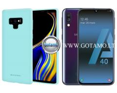 Mercury Soft Feeling dėklas nugarėlė Samsung Galaxy A40 telefonui mėtinės spalvos