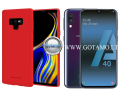 Mercury Soft Feeling dėklas nugarėlė Samsung Galaxy A40 telefonui raudonos spalvos