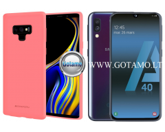 Mercury Soft Feeling dėklas nugarėlė Samsung Galaxy A40 telefonui rožinės spalvos