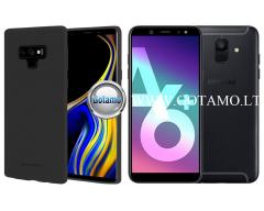 Mercury Soft Feeling dėklas nugarėlė Samsung Galaxy A6+ (2018) telefonui juodos spalvos