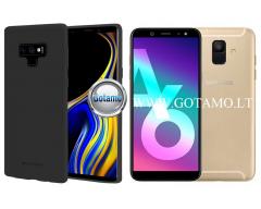 Mercury Soft Feeling dėklas nugarėlė Samsung Galaxy A6 (2018) telefonui juodos spalvos