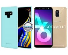 Mercury Soft Feeling dėklas nugarėlė Samsung Galaxy A6 (2018) telefonui mėtinės spalvos