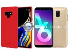 Mercury Soft Feeling dėklas nugarėlė Samsung Galaxy A6 (2018) telefonui raudonos spalvos